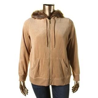 MICHAEL Michael Kors Womens Plus Velour Faux Rabbit Fur Jacket