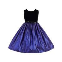 Crayon Kids Little Girls Royal Blue Black Sequin Belt Flower Girl Dress
