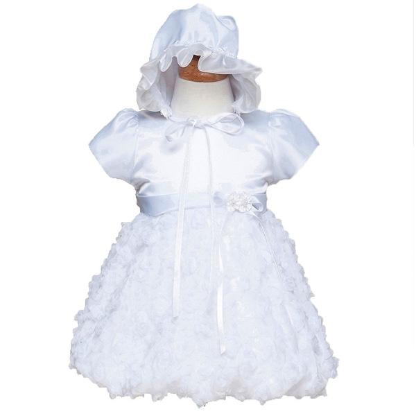 df797a88c518 Shop Crayon Kids Baby Girls White Satin Bubble Christening Bonnet ...