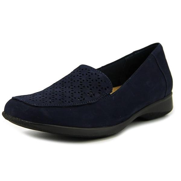 Trotters Jenn Laser Women Square Toe Leather Blue Loafer