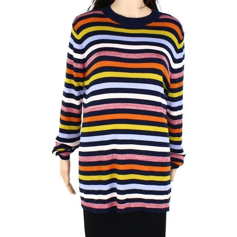 Halogen Womens Sweater Blue Yellow Size 2X Plus Striped Shimmer Tunic