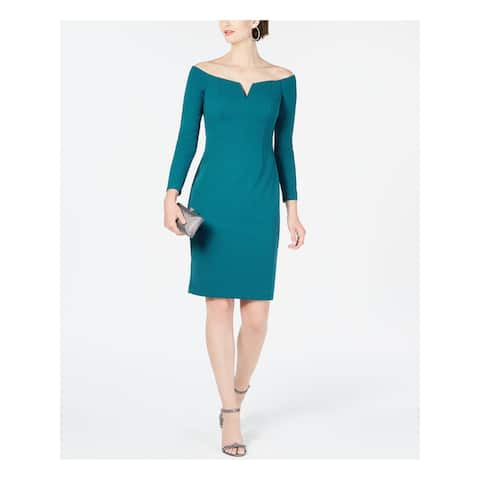 VINCE CAMUTO Teal Long Sleeve Above The Knee Sheath Dress Size 2