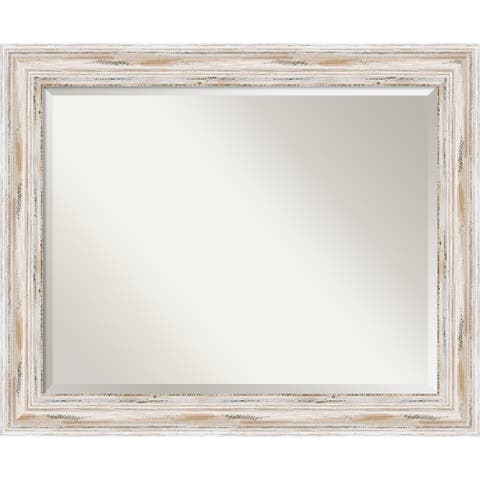 The Gray Barn Wilset Large White Wash Wall Mirror, 33 x 27 - 27.12 x 33.12 x 1.971 inches deep