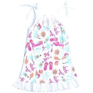 BNY Corner Summer Print Girl Dress with Lace Hem Strapped Shoulder