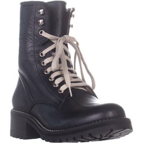 Aqua Jax Lace Up Combat Boots, Black Leather