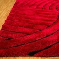 Allstar Red Shaggy Area Rug with 3D Design with Black Lines. Contemporary Formal Casual Hand Tufted (5' x 7') - Thumbnail 2
