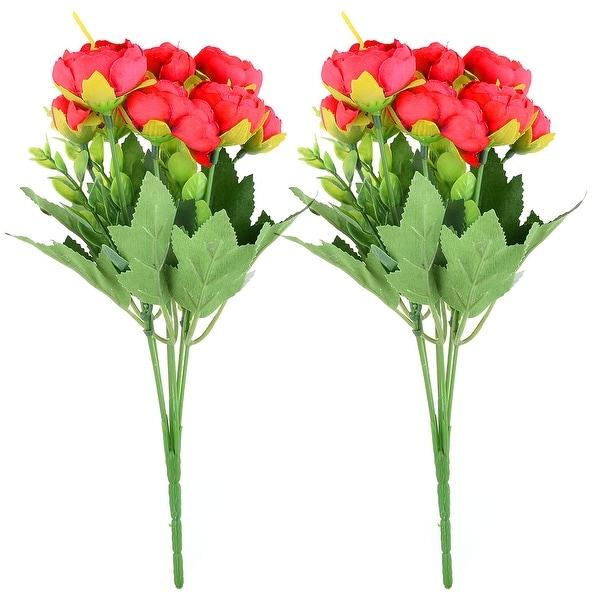 Wedding Fabric Camellia Shaped DIY Craft Decor Artificial Flower Bouquet Red 2pcs