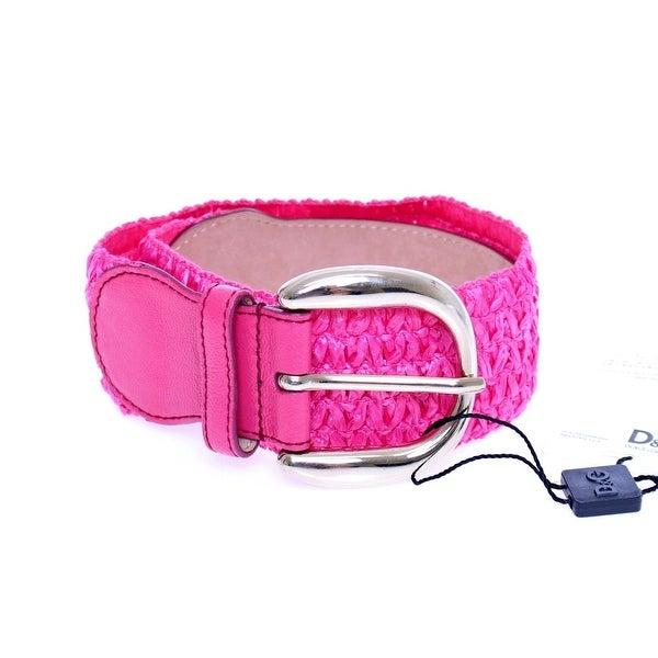 Dolce & Gabbana Dolce & Gabbana Pink Leather Logo Belt - 70-cm-28-inches
