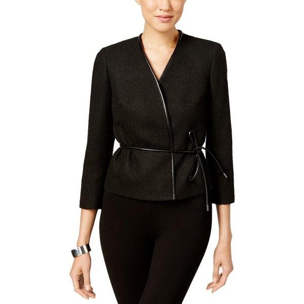 7d7650af17b25 Nine West Womens Nostalgia Jacket Textured Leather Trim