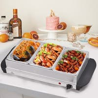 Gymax Buffet Server Food Warmer Stainless Steel 1.5 Quart 3 Tray Chafing Dish Tabletop