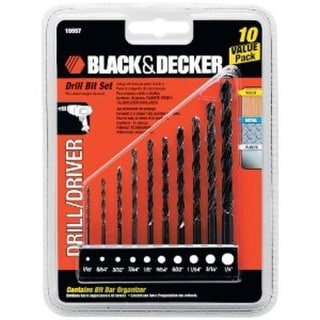 "Black & Decker 15557, 10 Piece Drill Bit Set, 1/16""-1/4"""