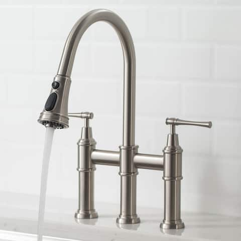 Kraus Allyn Traditional 3-Function Bridge Pulldown Kitchen Faucet