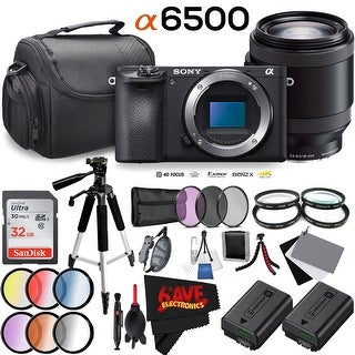 Sony Alpha a6500 Mirrorless (Body Only) + Sony E PZ 18-200mm f/3.5-6.3 OSS Lens + Case Bundle (Intl Model) (4 options available)
