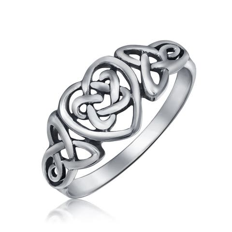 Irish Celtic Love Knots Infinity Heart Forever Endless Promise Ring 925 Sterling Silver Polished Finish Band