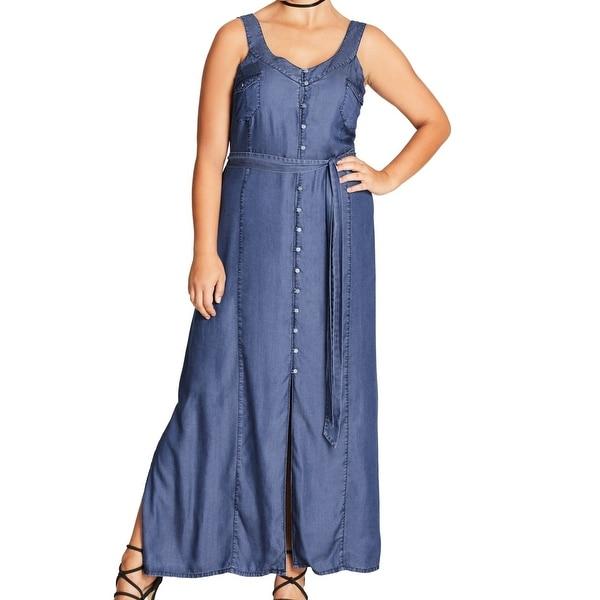 4d06e674928d0 Shop City Chic Blue Denim Womens Size 18 Plus Button Down Maxi Dress ...
