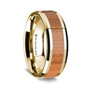 14K Yellow Gold Polished Beveled Edges Wedding Ring With Sapele Wood Inlay 8 Mm