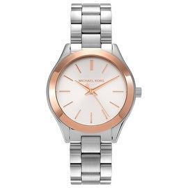 Michael Kors Women's 'Runway' MK3514 Two-tone Silver Dial Bracelet Watch