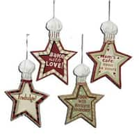 Club Pack of 12 Mom's Kitchen Star Shapes with Chef Hats Christmas Ornaments - RED