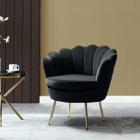 Gaitana Tufted Barrel Chair with Golden Base