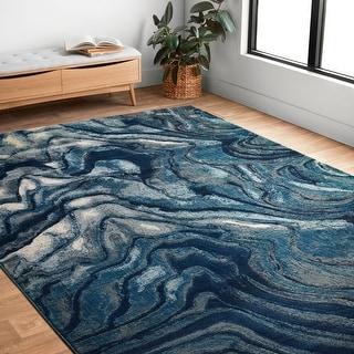 """Modern Abstract Indigo/ Blue Area Rug - 5' x 7'6"""""""