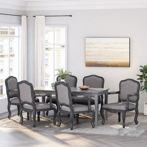 Andrea Wood Upholstered Dining Armchair by Christopher Knight Home