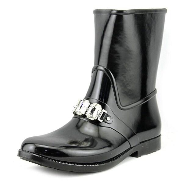 Michael Michael Kors Leslie Rainbootie Women Round Toe Leather Black Rain Boot