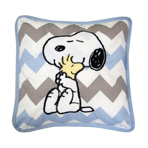 Lambs & Ivy My Little Snoopy Decorative Pillow - Blue, Gray, White, Snoopy, Modern, Puppy, Boy