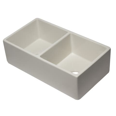 ALFI brand AB3318DB-B 33 inch Biscuit Reversible Double Fireclay Farmhouse Kitchen Sink