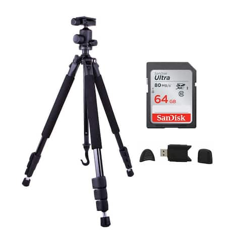 "Dolica 60"" Proline Aluminum Tripod and Ball Head with 64GB Card Bundle"