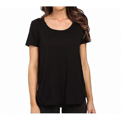 Yummie Top Black Size XS Junior Knit Side-Slits Scoop Neck T-Shirt
