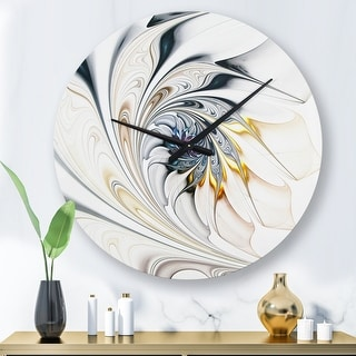 Link to Designart 'White Stained Glass Floral Art' Oversized Modern Wall Clock Similar Items in Decorative Accessories