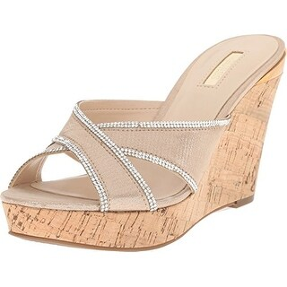 GUESS Eleonora Gold Fabric Women's Wedge Shoes