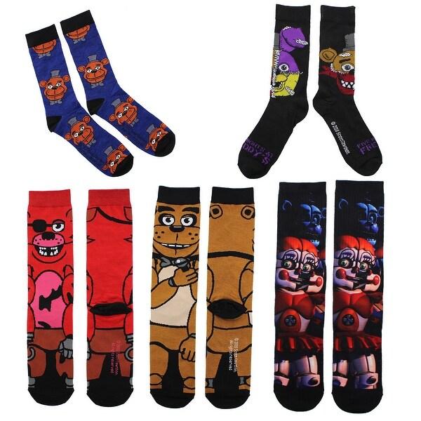 Five Nights at Freddy's Men's Crew Sock Bundle, 5 Pairs: Freddy, Foxy, More! - Multi