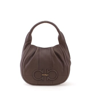 Salvatore Ferragamo Ginny Leather Satchel Handbag - Brown - M