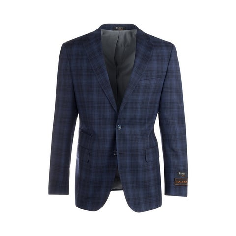 Dolcetto Navy Blue with Black and Light Blue Windowpane/Plaid Modern Fit, Pure Wool Jacket by Tiglio Luxe 865129/2