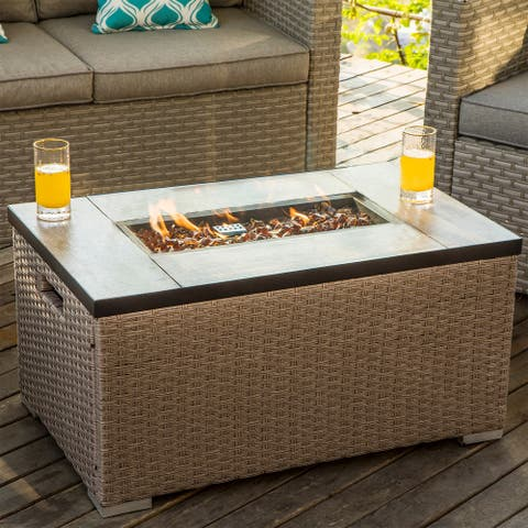 COSIEST Outdoor Propane Fire Pit Rectangle Wicker Fire Table