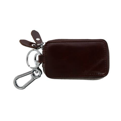 CTM® Leather Zip-Around Key Fob Holder with Window - one size
