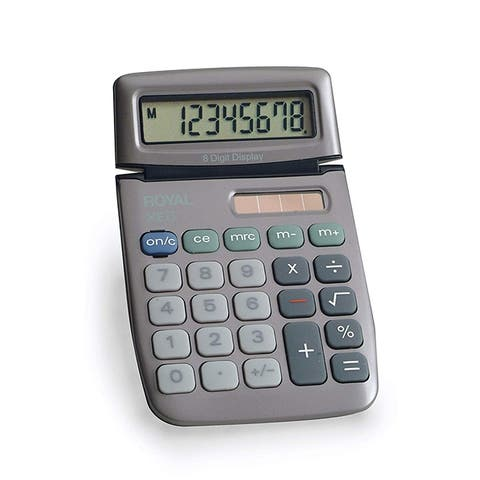 Royal XE6 8 Digit Tiltable Display Calculator with Solar and Battery Power