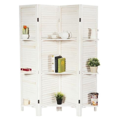 4 Panel Folding Room Divider Screen with 3 Display Shelves-White - White