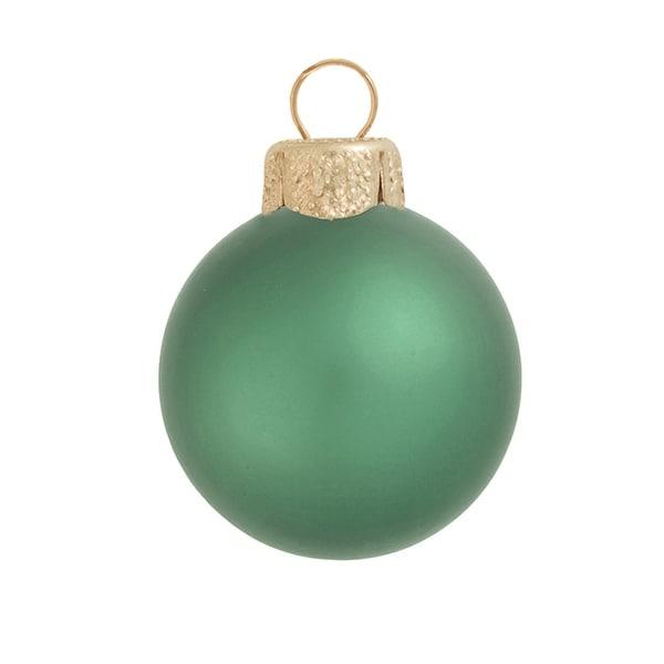"12ct Matte Soft Green Glass Ball Christmas Ornamens 2.75"" (70mm)"