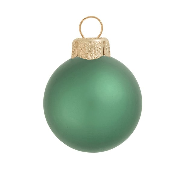 "28ct Matte Soft Green Glass Ball Christmas Ornaments 2"" (50mm)"