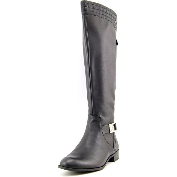 Anne Klein Kaydon Wide Calf Round Toe Leather Knee High Boot