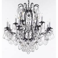 Wrought Iron Crystal Chandelier Lighting Trimmed with Swarovski Crystal - Black