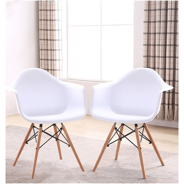 Retro-classic Wood Leg White Accent Chair with Arms ( Set of 2 )