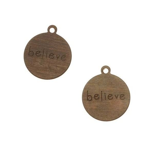 Vintaj Natural Brass Rustic Round Message Charms Believe 12mm (2)