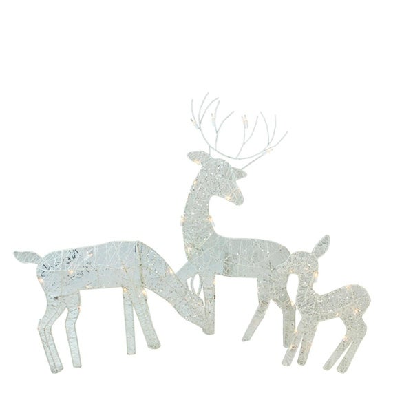 3-Piece White Glittered Doe, Fawn and Reindeer Lighted Christmas Outdoor Decorations