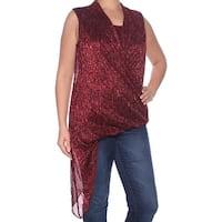 ALFANI Womens Red Glitter Sleeveless Scoop Neck Trapeze Trapeze Top  Size: L