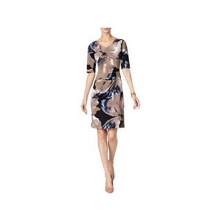 Connected Apparel Womens Petites Cocktail Dress Printed Knee-Length