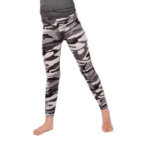 Lori & Jane Girls Gray Camouflage Pattern Stretchy Soft Leggings
