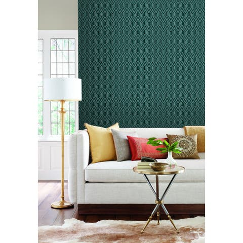Fairfield Labyrinth Teal Wallpaper